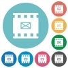 Send movie as email flat round icons - Send movie as email flat white icons on round color backgrounds