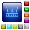 Wireless router color square buttons - Wireless router icons in rounded square color glossy button set