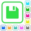 Save data vivid colored flat icons - Save data vivid colored flat icons in curved borders on white background