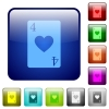 Four of hearts card color square buttons - Four of hearts card icons in rounded square color glossy button set