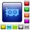 Computer video card color square buttons - Computer video card icons in rounded square color glossy button set