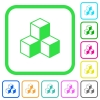 Cubes vivid colored flat icons - Cubes vivid colored flat icons in curved borders on white background