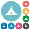 Tent flat round icons - Tent flat white icons on round color backgrounds
