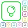 Light bulb vivid colored flat icons - Light bulb vivid colored flat icons in curved borders on white background