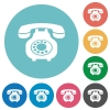 Vintage retro telephone flat round icons - Vintage retro telephone flat white icons on round color backgrounds