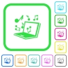 Laptop with music symbols vivid colored flat icons - Laptop with music symbols vivid colored flat icons in curved borders on white background