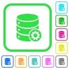 Database settings vivid colored flat icons - Database settings vivid colored flat icons in curved borders on white background
