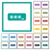 PIN code flat color icons with quadrant frames - PIN code flat color icons with quadrant frames on white background