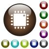 Computer processor color glass buttons - Computer processor white icons on round color glass buttons