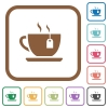 Cup of tea with teabag simple icons - Cup of tea with teabag simple icons in color rounded square frames on white background