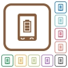 Mobile battery status simple icons - Mobile battery status simple icons in color rounded square frames on white background