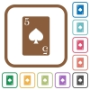 Five of spades card simple icons - Five of spades card simple icons in color rounded square frames on white background