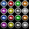 Delivery truck white icons in round glossy buttons on black background - Delivery truck white icons in round glossy buttons with steel frames on black background. The buttons are in two different styles and eight colors.