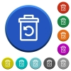 Undelete beveled buttons - Undelete round color beveled buttons with smooth surfaces and flat white icons