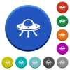 UFO beveled buttons - UFO round color beveled buttons with smooth surfaces and flat white icons