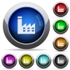 Factory building round glossy buttons - Factory building icons in round glossy buttons with steel frames