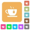 Cup of tea with teabag rounded square flat icons - Cup of tea with teabag flat icons on rounded square vivid color backgrounds.