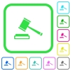 Auction hammer vivid colored flat icons - Auction hammer vivid colored flat icons in curved borders on white background