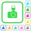 Camera with flash vivid colored flat icons - Camera with flash vivid colored flat icons in curved borders on white background