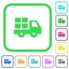 Transport vivid colored flat icons - Transport vivid colored flat icons in curved borders on white background
