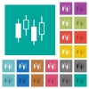 Candlestick chart square flat multi colored icons - Candlestick chart multi colored flat icons on plain square backgrounds. Included white and darker icon variations for hover or active effects.