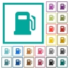 Gas station flat color icons with quadrant frames - Gas station flat color icons with quadrant frames on white background