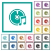 Audio CD flat color icons with quadrant frames - Audio CD flat color icons with quadrant frames on white background