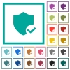 Protection ok flat color icons with quadrant frames - Protection ok flat color icons with quadrant frames on white background