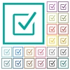 Checked box flat color icons with quadrant frames - Checked box flat color icons with quadrant frames on white background