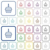 Birthday cupcake outlined flat color icons - Birthday cupcake color flat icons in rounded square frames. Thin and thick versions included.
