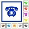 Vintage retro telephone flat framed icons - Vintage retro telephone flat color icons in square frames on white background