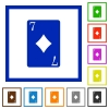 Seven of diamonds card flat framed icons - Seven of diamonds card flat color icons in square frames on white background