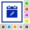Edit schedule item flat framed icons - Edit schedule item flat color icons in square frames on white background