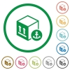 Sea package transportation flat icons with outlines - Sea package transportation flat color icons in round outlines on white background