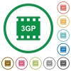 3gp movie format flat icons with outlines - 3gp movie format flat color icons in round outlines on white background