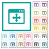 Move window flat color icons with quadrant frames - Move window flat color icons with quadrant frames on white background
