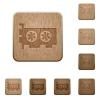 Computer video card wooden buttons - Computer video card on rounded square carved wooden button styles