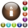 Burning candle with melting wax color glass buttons - Burning candle with melting wax white icons on round color glass buttons
