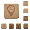 Transport service GPS map location wooden buttons - Transport service GPS map location on rounded square carved wooden button styles