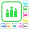 Ranking vivid colored flat icons - Ranking vivid colored flat icons in curved borders on white background