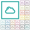 Single cloud flat color icons with quadrant frames - Single cloud flat color icons with quadrant frames on white background