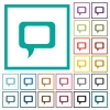 Empty comment bubble flat color icons with quadrant frames - Empty comment bubble flat color icons with quadrant frames on white background