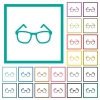 Eyeglasses flat color icons with quadrant frames on white background - Eyeglasses flat color icons with quadrant frames