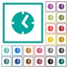 Clock flat color icons with quadrant frames - Clock flat color icons with quadrant frames on white background