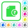 Indian Rupee financial report vivid colored flat icons - Indian Rupee financial report vivid colored flat icons in curved borders on white background