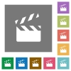 Clapperboard flat icons on simple color square backgrounds - Clapperboard square flat icons