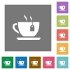 Cup of tea with teabag square flat icons - Cup of tea with teabag flat icons on simple color square backgrounds