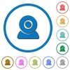 Webcam icons with shadows and outlines - Webcam flat color vector icons with shadows in round outlines on white background