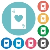 Four of hearts card flat round icons - Four of hearts card flat white icons on round color backgrounds