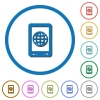 Mobile internet icons with shadows and outlines - Mobile internet flat color vector icons with shadows in round outlines on white background
